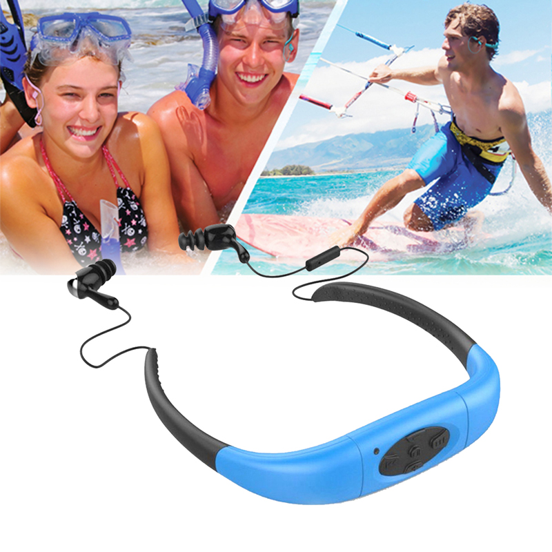 Waterproof Sport MP3 Player 4GB Underwater Head Wearing Stereo MP3 with FM Radio for Swimming Surfing