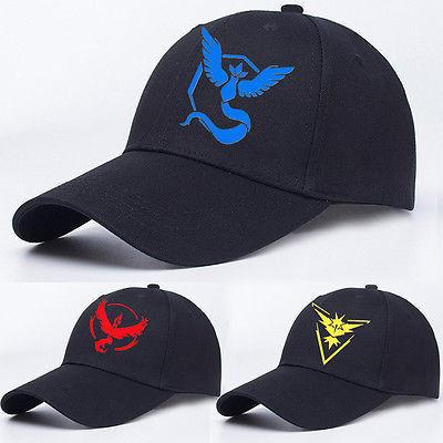 11cc8d386ce068 Pokemon Gehen Kappen Baseball-mütze Team Mystic InstInct Valor Gestickte  Kappe Hut Firebird Arktos Thunderbird