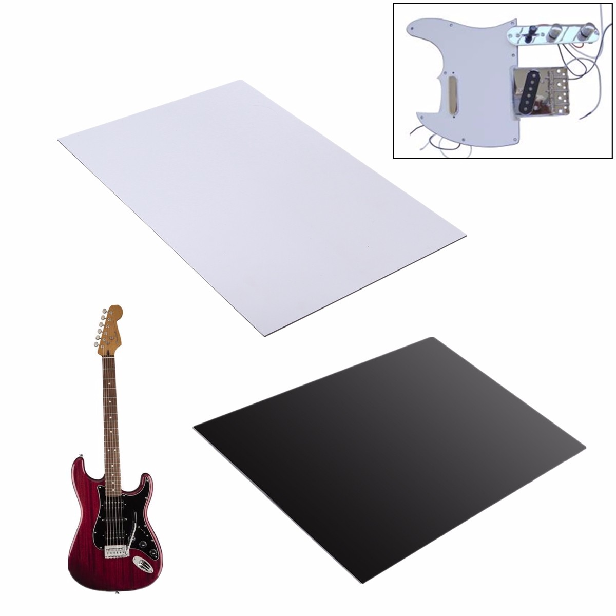 29x43cm Guitar Bass Pickguard Blank Material Plain White 3Ply Pickguard Sheet Guitar Parts Accessories