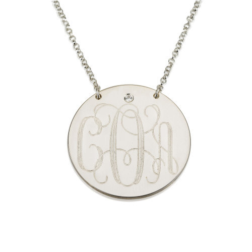 Wholesale Silver Monogram Name Disc Necklace Personalized Initial Pendent Custom Initial Rhinestone Nameplate Jewelry Gift ailin gold color monogram disc necklace personalized engraved initial disc pendant follow your heart name necklace faith jewelry