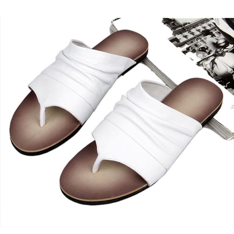 ONS 6 10 Mannen Vintage Lederen Casual Flip Flop Slipper Casual Strand Sandalen Zomer Outdoor Schoenen - 6