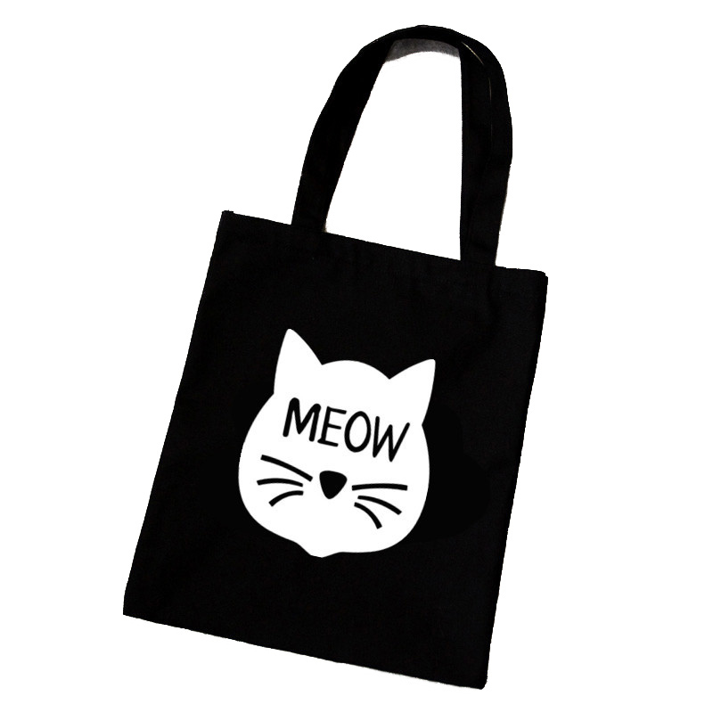 Female Canvas Beach Bag Cartoon Cat Printed Casual Tote Women Handbag Daily Use Shoulder Shopping Bags Black Bolsos Mujer