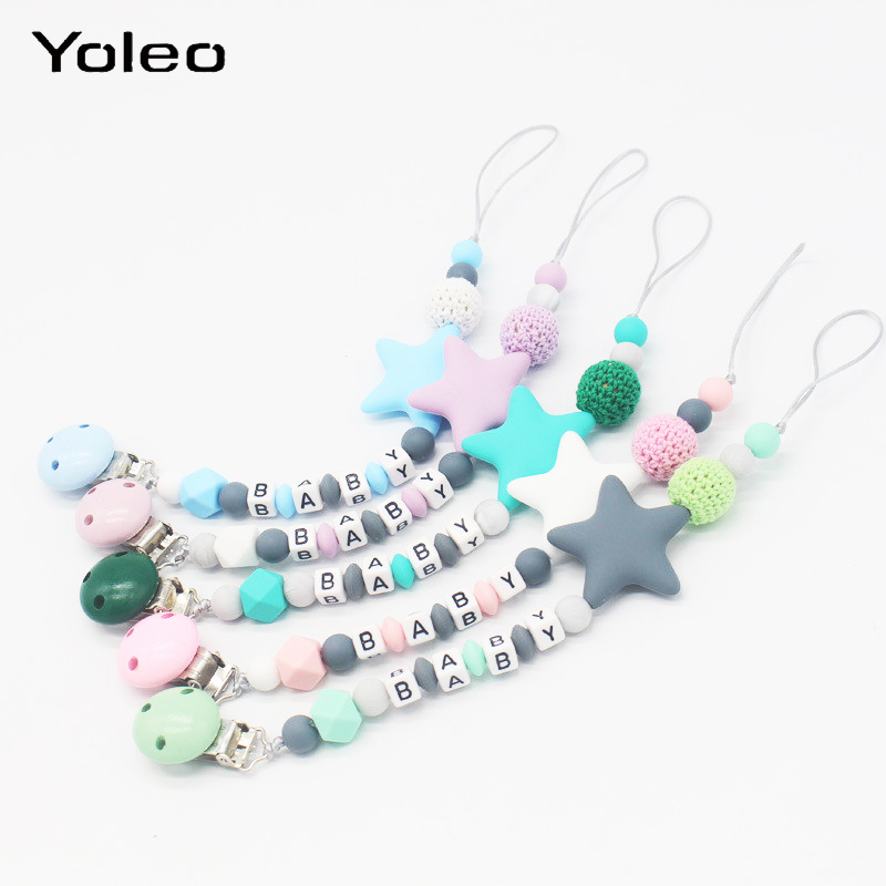 Teething Pacifier Nipple Beads Chain Holder Toys Baby Toddler Dummy Bead Clip YW