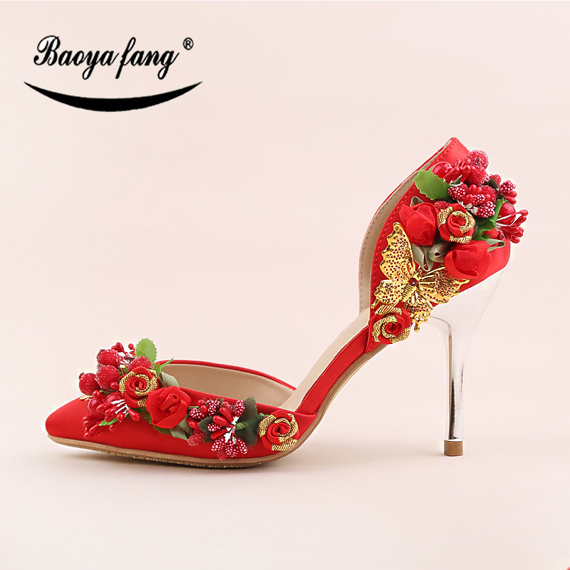 BaoYaFang New 9cm Thin High shoes Red Flower Womens wedding shoes Bride shoes for woman Ladies Party dress shoes baoyafang red crystal womens wedding shoes with matching bags bride high heels platform shoes and purse sets woman high shoes