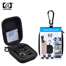 Apexel 5 in 1 camera lens kit Universal 198 Fisheye +15x Marco + 0.63X Wide + 2X Telephoto CPL lens for iPhone Samsung XIAOMIDG5