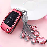TPU Car Key Case Auto Key Protection Cover For Audi C6 A7 A8 R8 A1 A3 A4 A5 Q7 Chery Tears of the Sky Artificial Crystal Pendant