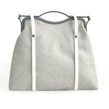 Doppelseitige verwendung handgemachte grau weiß farbblock handtasche große kapazität elegante frauen exquisite clip umhängetasche