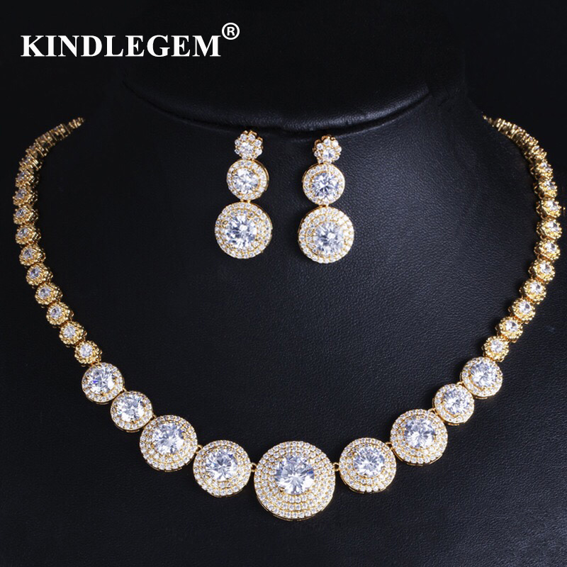 Kindlegem Luxury Bling Bling Zircon Jewelry Set Fashion Earrings Necklace European Dubai Gold Silver Bride Engagement BijouxKindlegem Luxury Bling Bling Zircon Jewelry Set Fashion Earrings Necklace European Dubai Gold Silver Bride Engagement Bijoux