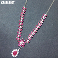 Natural Ruby Necklace Red Gem Genuine Solid 925 Sterling Silver Precious Stone Woman Charm Statement Necklaces Noble Luxury
