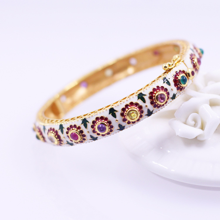 Character silver product Thai silver bracelet wholesale ms S925 pure silver colored enamel and colorful gems