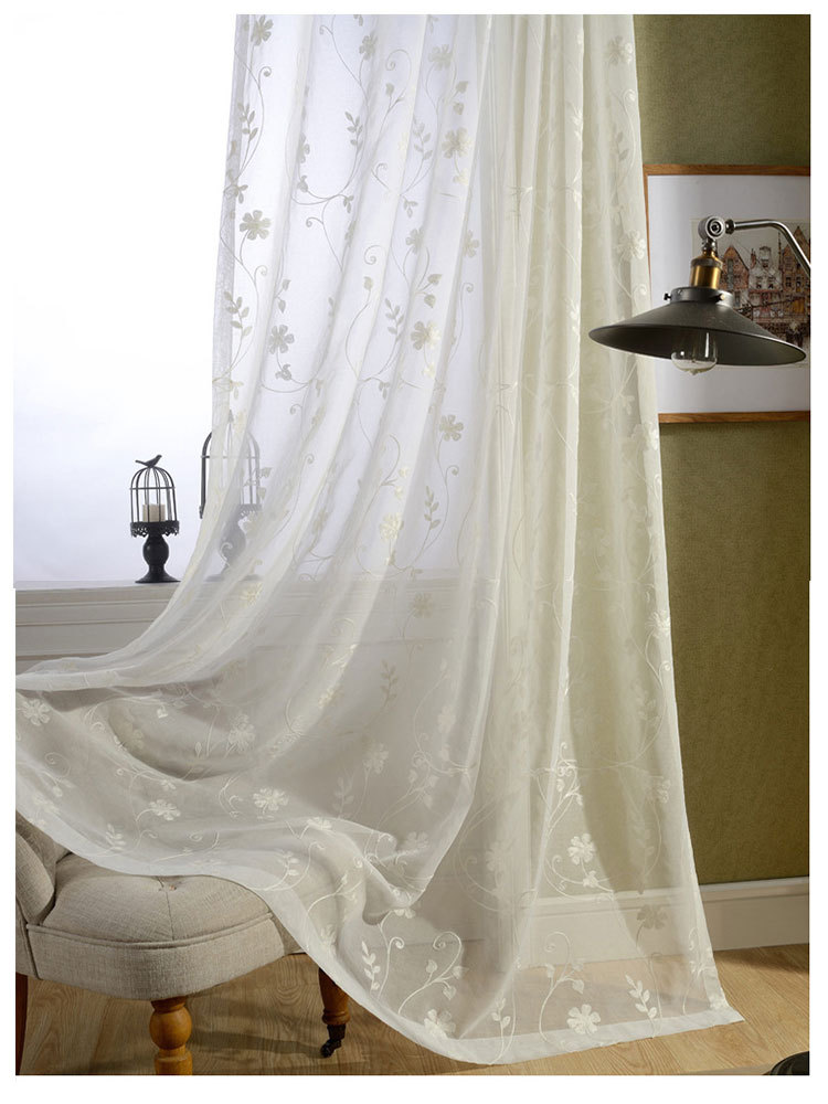 Free shipping finished white cotton embroidered voile for Tende in voile