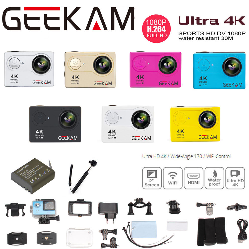 Original GEEKAM H9 Cámara de Acción Ultra Actualizado 4 K 1080 P/60FPS 720 P/120