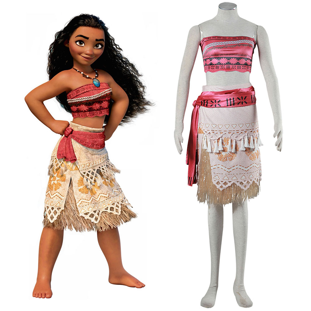 2017 Movie Moana Princess Dress Women Kids Cosplay Costume Princess vaiana Costume Skirt ...