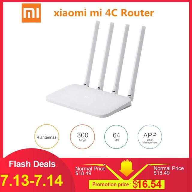 Xiao mi mi WIFI Router 4C 64 RAM 802.11 b/g/n 2.4G 300 Mbps 4 Anten thông minh APP Điều Khiển Ban Nhạc Bộ Định Tuyến Không Dây Repeater
