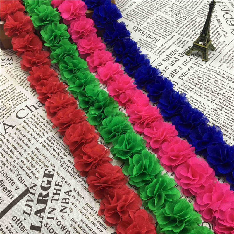 ef18210aa61e Nouveau 1 Cour 8 feuilles 26 fleurs En Mousseline de Soie En Trois  Dimensions Fleurs Décoration À La Main BRICOLAGE Accessoires de Vêtement