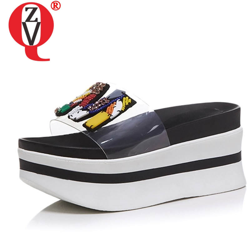 ZVQ fashion brand high heels woman mules shoes sexy wedges slides summer walk slippers cut string
