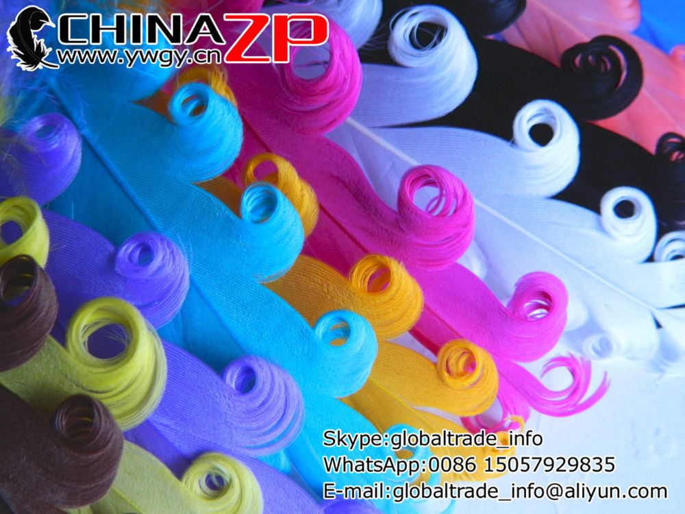 CHINAZP Factory Cheap Wholesale 500pcs/lot Good Quality Dyed Mix Color Curled Goose Feathers for Hair Accessories