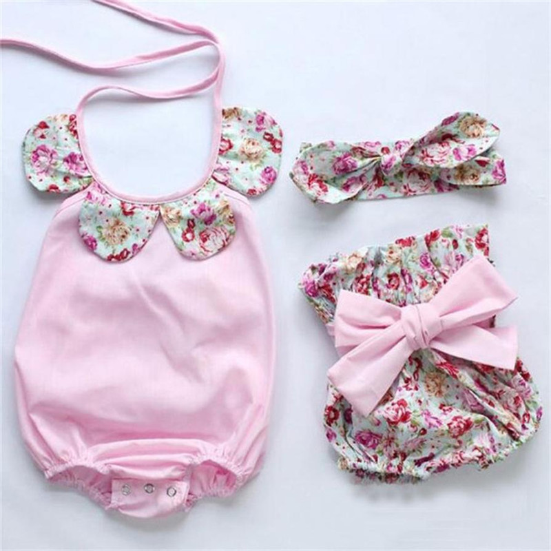 2017 NewbornBaby girl clothes Infant Baby Girl Floral Romper Tops+Bow Shorts Pants Outfi ...
