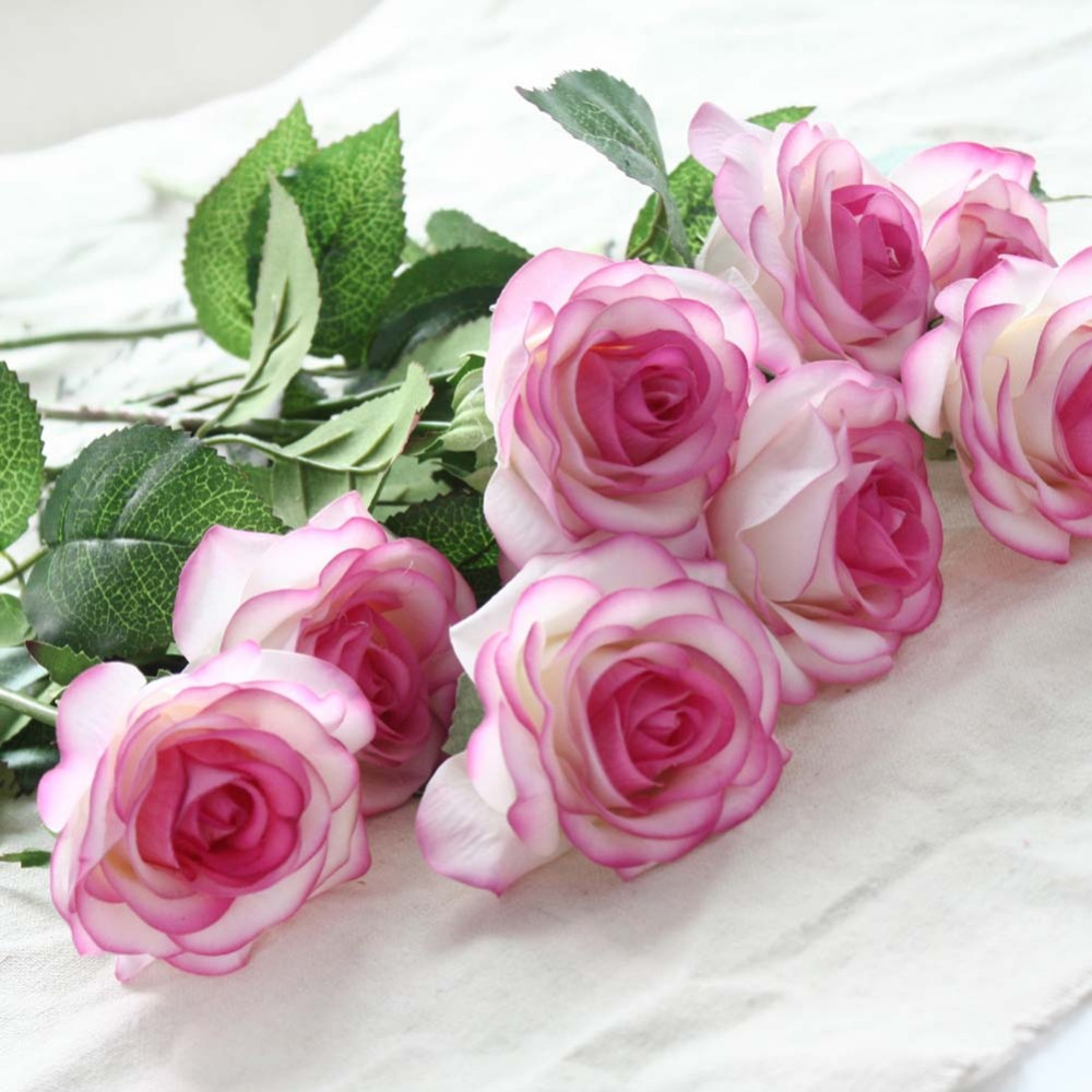 8pcs/lot Artificial Rose bouquet vivid flores Real Touch artificial flower Latex fake rose flowers for home wedding decoration fake rose flowers