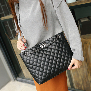 Image 2 - Luxury Brand Plaid Crossbody bags for women 2020 Large Female Handbags Designer Black Leather Messenger Tote Women shoulder bag