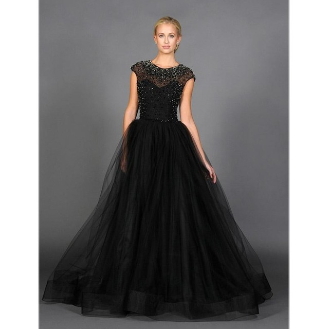 Black Cap Sleeve Formal Evening Dress Beads Plus Size
