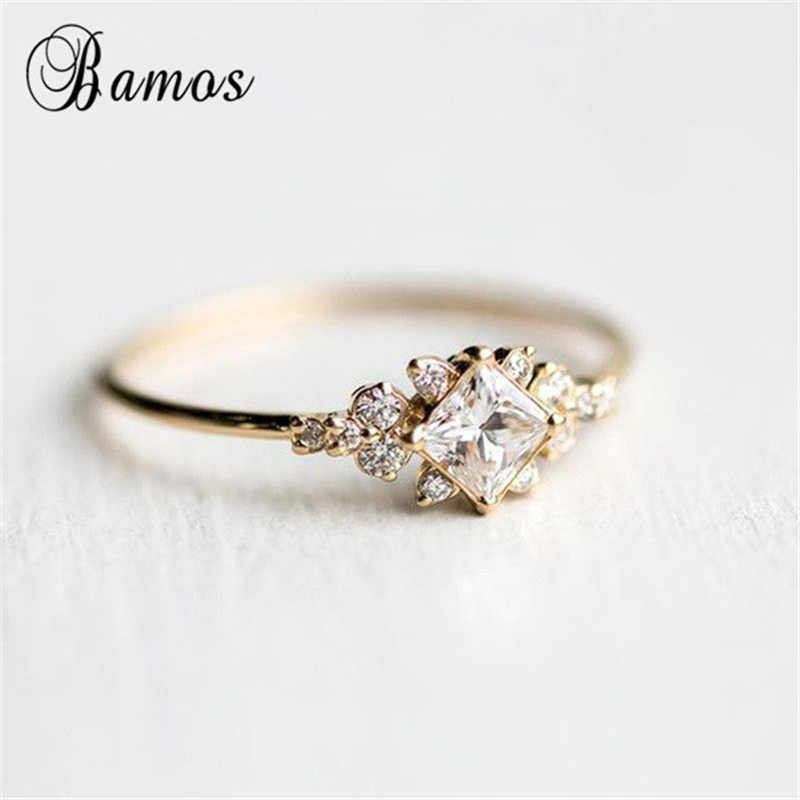 Bamos Princess Cut Zircon Engagement Ring Vintage Gold Color Promise Wedding Rings For Women Simple Summer Jewelry Best Gift Aliexpress