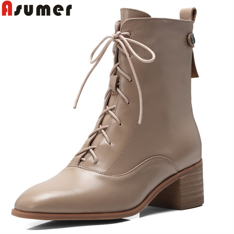 ASUMER 2018 fashion ankle boots for women square toe zip genuine leather boots square heel ladies prom boots lace up shoes цена