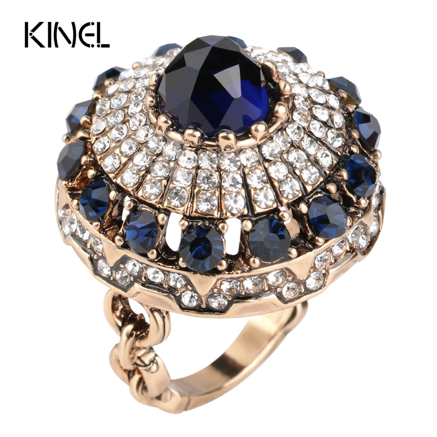 Hot 2017 Luxury Big Natural Stone Ring Vintage Turquoise Antique Rings For Women Gold Plated Turkish Jewelry Crystal Gift diamond stylish watches for girls