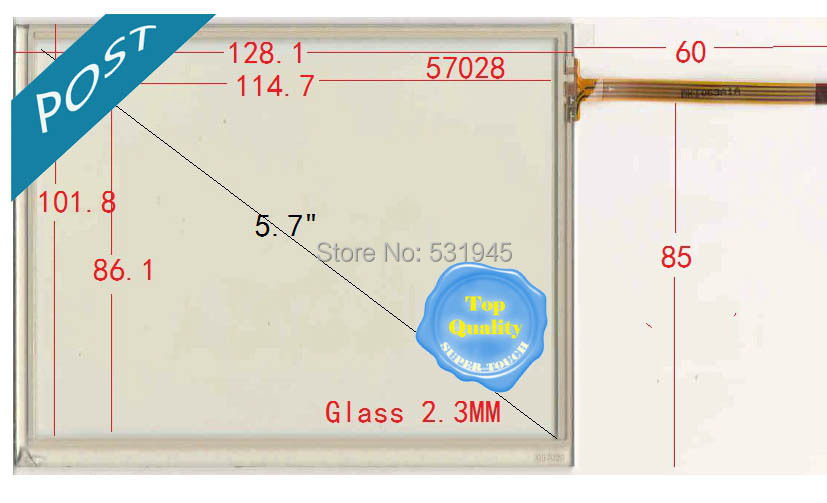 NEW 128.1 101.8 5.7 General Touch Screen Thickening Glass With Adhesive POST