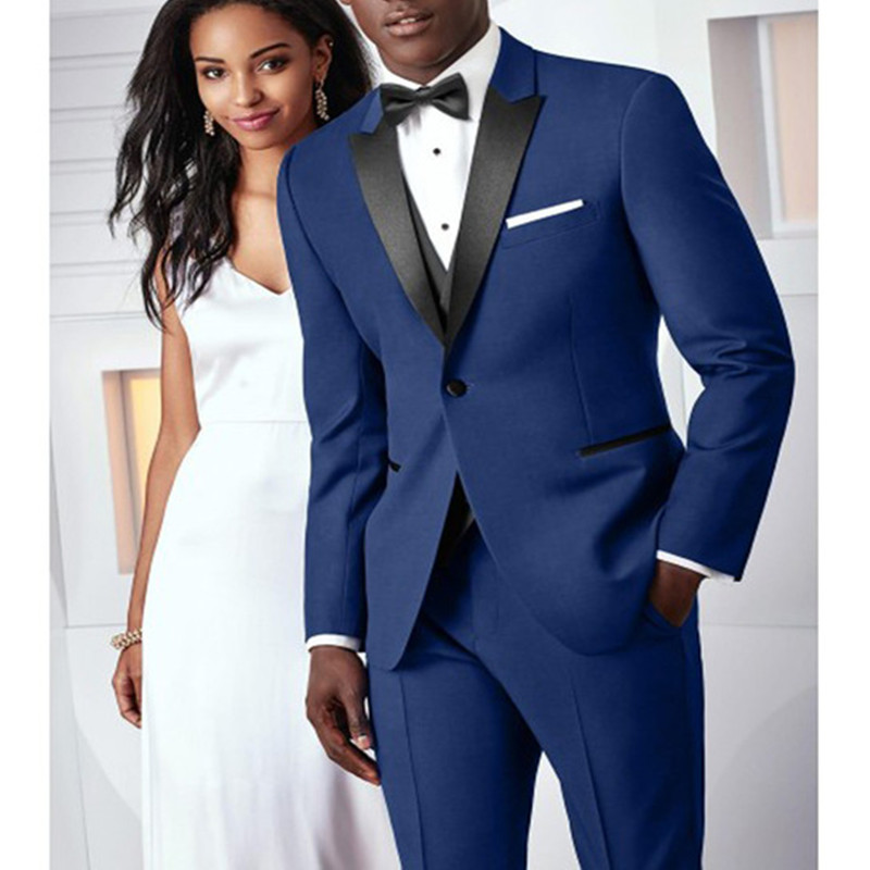 Blue black lapel dress men's wedding slim ball suit custom men's wedding tuxedo party business suit two pieces (jacket + pants)