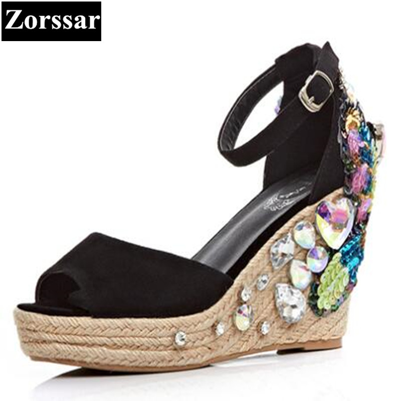 ФОТО Women Summer shoes high heels rhinestone open toe wedges sandals woman party shoes 2017 Fashion Casual womens peep toe shoes