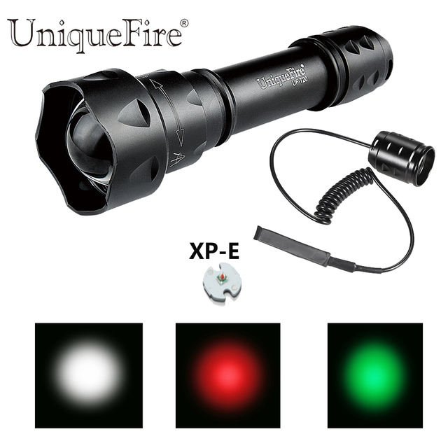 UniqueFire T20 XPE Red/Green/White LED Flashlight Zoomable Focus 38mm Convex Lens Torch with Dual Control Remote Pressure Switch