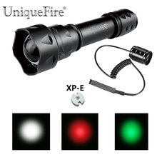 UniqueFire UF-T20 Flash Light Cree XP-E LED Flashlight Torch Red/Green/White 38mm Diameter Aspherical Lens Light+Rat Tail