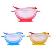 Bowl-Set Training-Dinnerware Dinner-Bowl Suction-Cup Spoon Baby Children