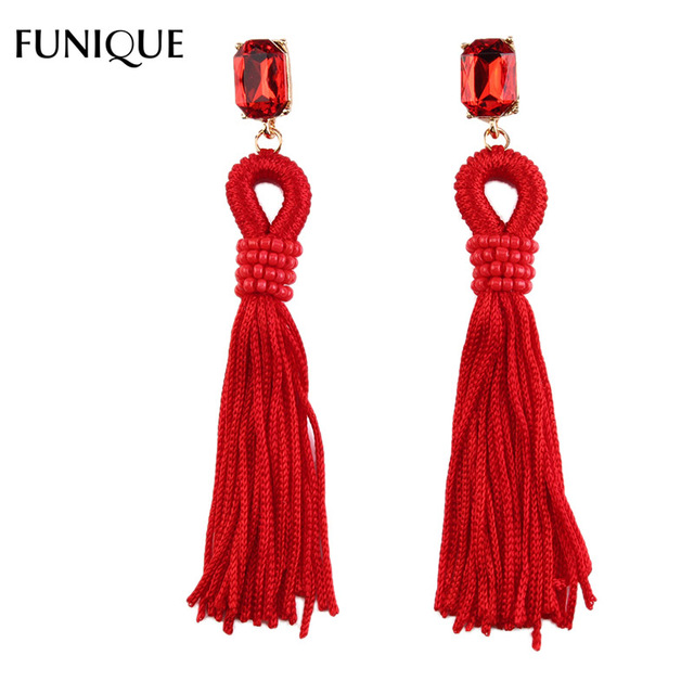 FUNIQUE 1Pair Tassles Beads Rhinestone Drop Earrings For Women Party Shopping Earrings Jewelry String Statement Earrings Gifts