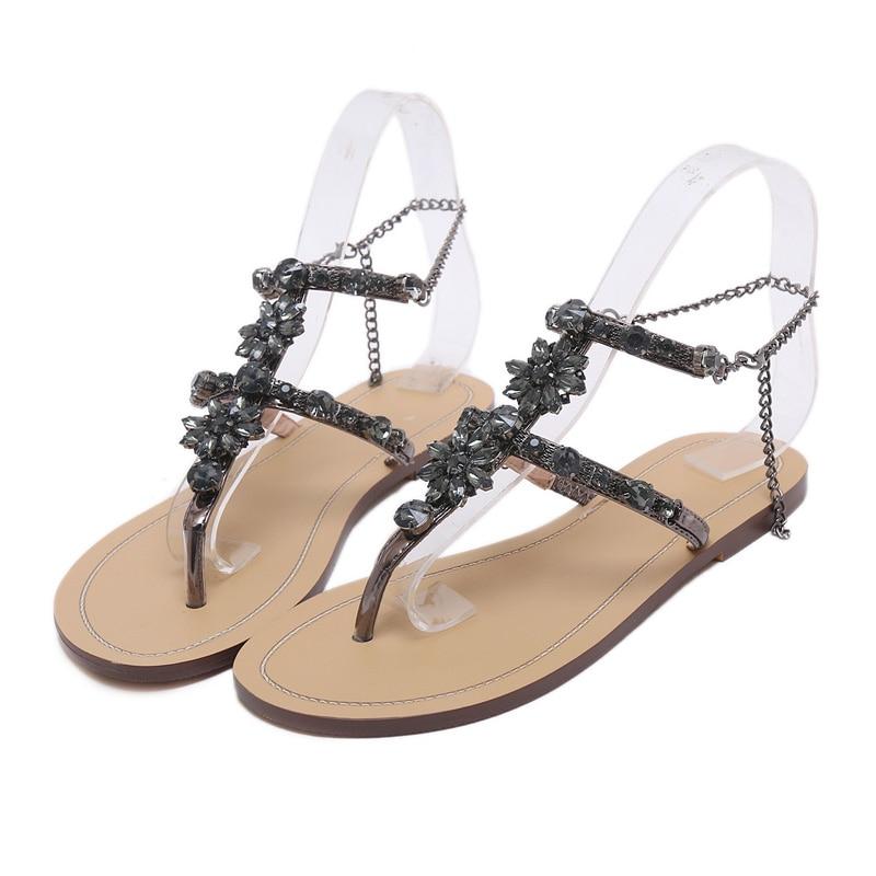 NEW Woman Sandals Women Shoes Rhinestones Chains Thong Gladiator Flat Sandals Chaussure Femme ete Plus Size 46 tenis feminino Beige 14