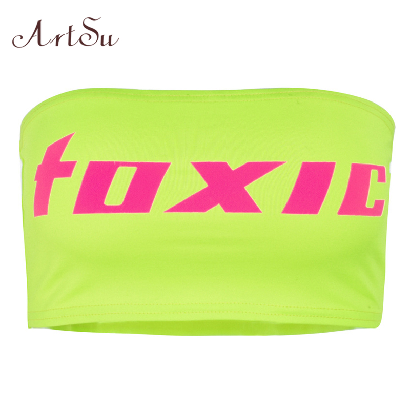 Artsu Fashion Camis Letter Print Strapless Sexy Off The Shoulder Crop Top Neon Green Beach Summer Tops Cami Asve20606 Delicacies Loved By All Women's Clothing
