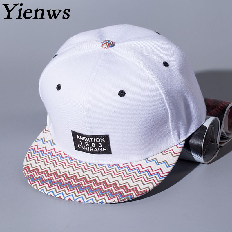 Yienws Letter Kpop White Flat Cap Snapback Hip Hop Caps For Women 6 Panel Full Cap Hat Baseball Straight Brim Hats Femme YIC046 new 2017 hats for women mix color cotton unisex men winter women fashion hip hop knitted warm hat female beanies cap6a03