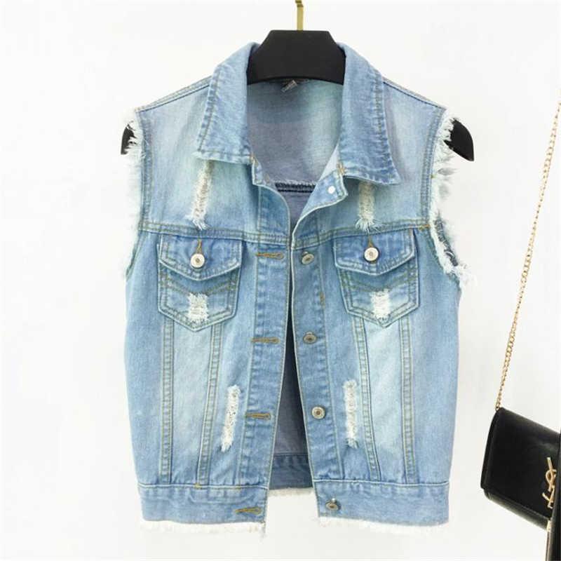 여성 데님 조끼 새로운 봄 가을 재킷 빈티지 청바지 조끼 짧은 재킷 플러스 크기 4xl 여성 의류 캐주얼 진 코트 탑스