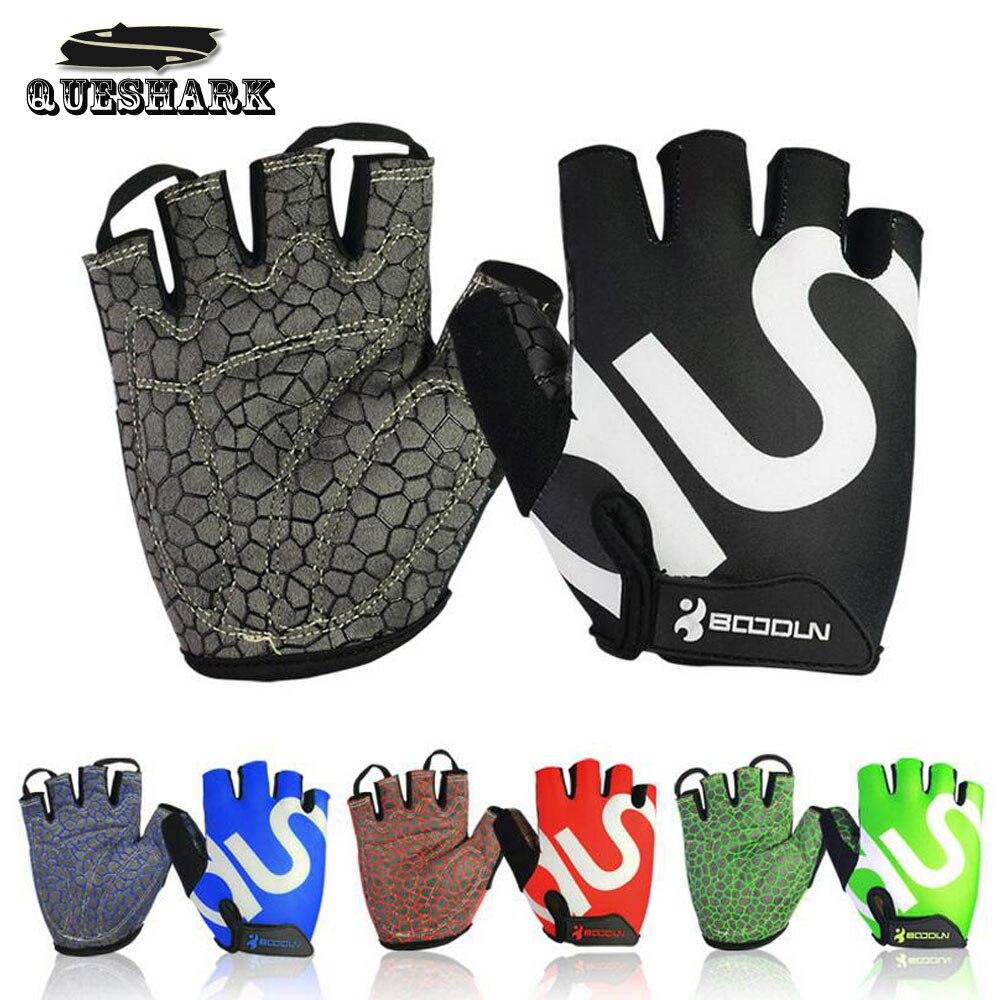 Queshark Men Women Gym Gloves Body Building Half Finger Fitness Gloves An slip font b Weight