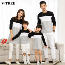 V-TREE Family Matching Outfits Mother Daughter Dresses Father Son Matching Clothes T-shirt Family Look(China)