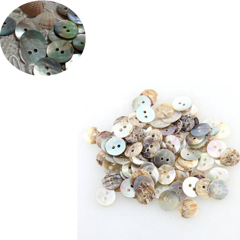 NEW 10mm Natural Shell Sewing Buttons Color Japan Mother of Pearl MOP Round Shell 2 Hole Button Sewing Accessories 100/200PCS