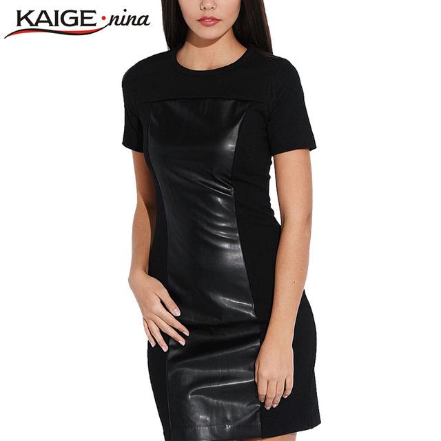 KAIGE NINA Mulheres Moda PU Vestido Bainha O Pescoço Vestido Casual Mini Vestido Preto Patchwork Plus Size Sexy Vestidos de Outono 2154