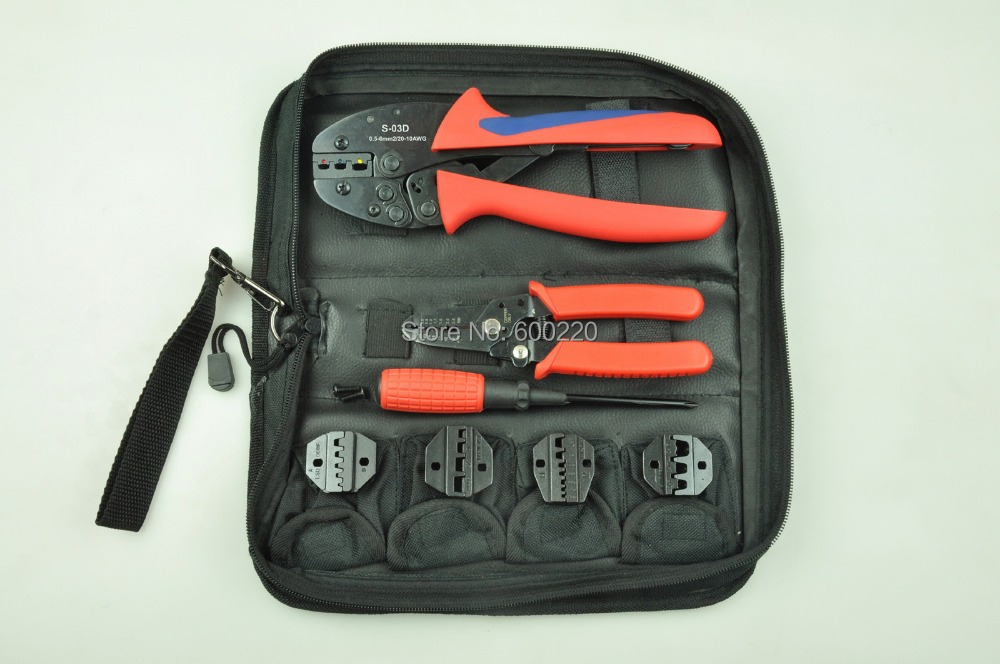 Terminal Crimping Tool Set with wire stripper&cutter,screwdriver and replaceable 4pcs die sets,crimping tool kit  цены