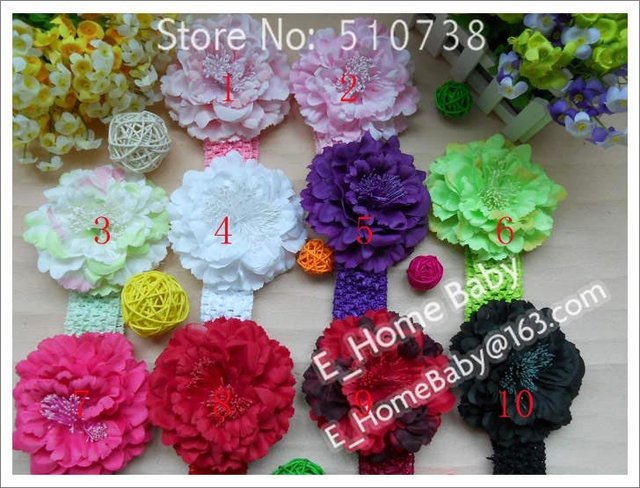 Mulit Big Silk 4.5 inch Peony Flower Baby Girl Gift Crochet Headband Flower Hair Clip 500pcs