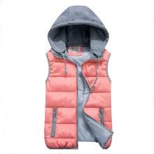 Женская хлопок шерсти воротник капюшоном вниз жилет Съемный шлем Горячий высокое качество Brand New женщин зима теплая Куртка и верхняя одежда ...(China (Mainland))