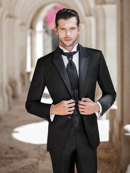 Custom Made Groom Tuxedo Black Groomsmen Peak Satin Lapel Wedding/Dinner Suits Best Man Bridegroom (Jacket+Pants+Tie+Vest) B468