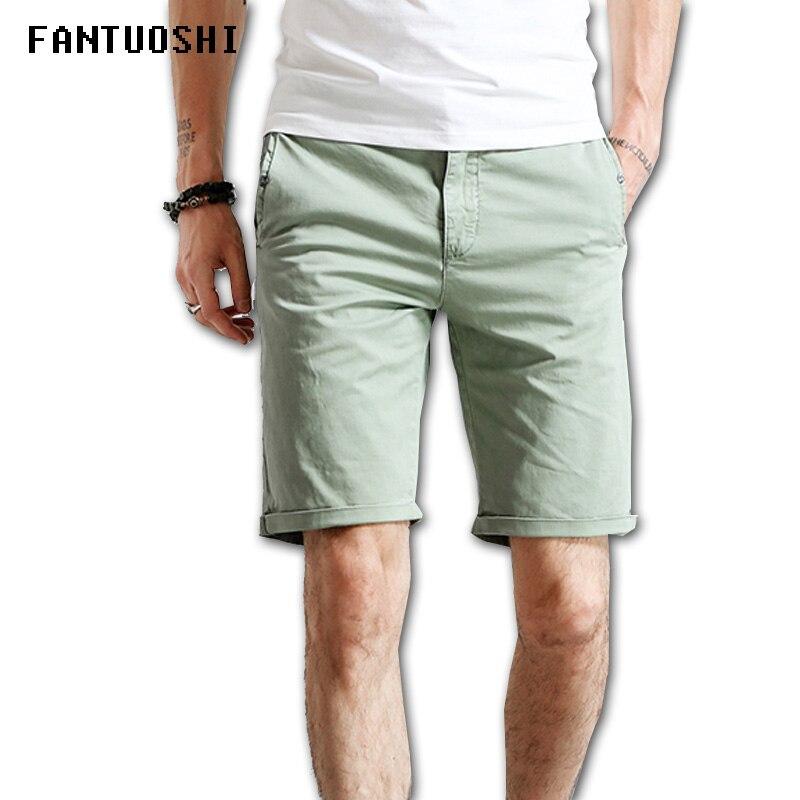 2018 Cotton Shorts Men Fashion Casual Summer Plus Size Men Short Knee Leisure Fitness Breathable Shorts men Green black khaki 36
