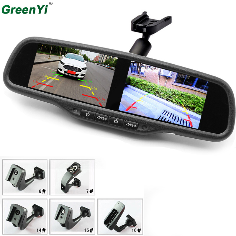 HD 800*480 Dual Screen Car Monitor OEM Mirror Monitor 4.3Inch Brightness Adjustment 4AV With Special Bracket For Hyundai Kia VW aputure digital 7inch lcd field video monitor v screen vs 1 finehd field monitor accepts hdmi av for dslr