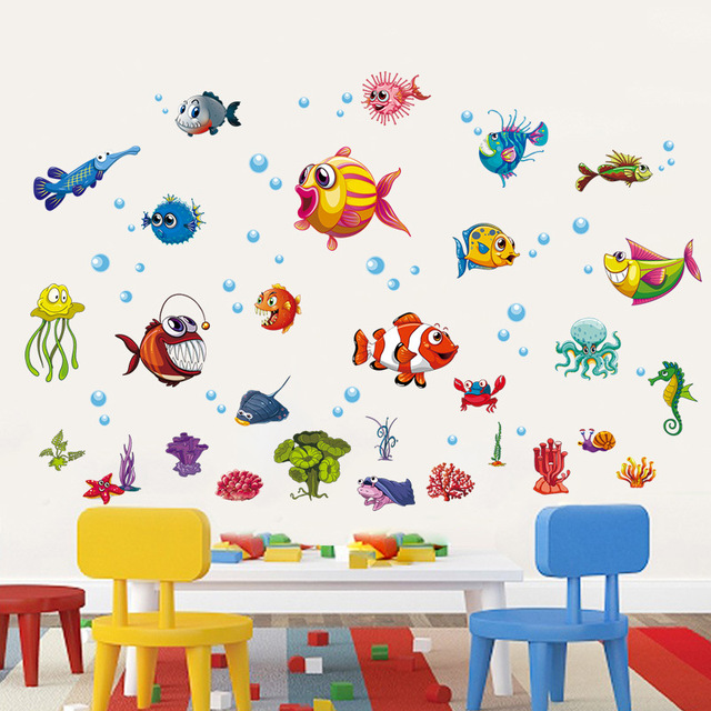 Cartoon Fish Wall Stickers Child Room Decor Bathroom Sticker DIY Removable  Sea World Wall Stickers Cartoon Cute Nimo Stickers